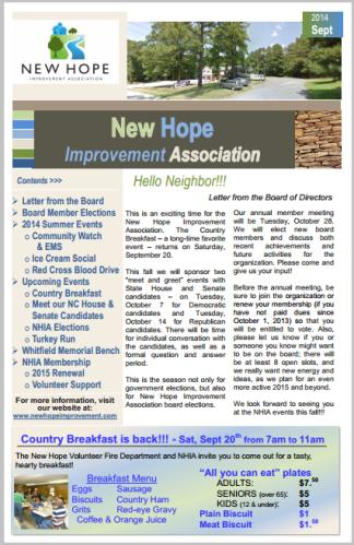 September 2014 Newsletter - Small