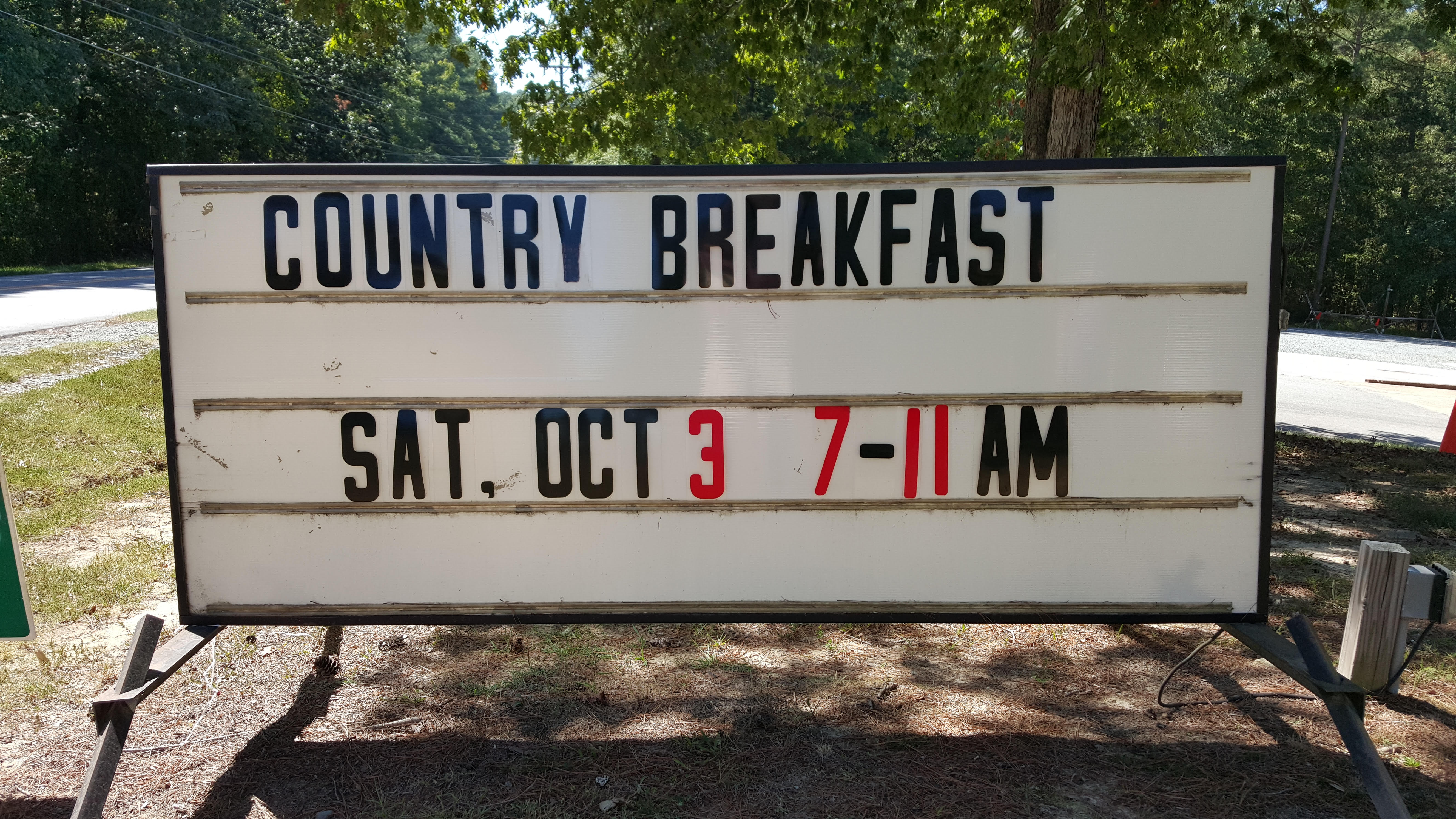 Country Breakfast Sign 2015