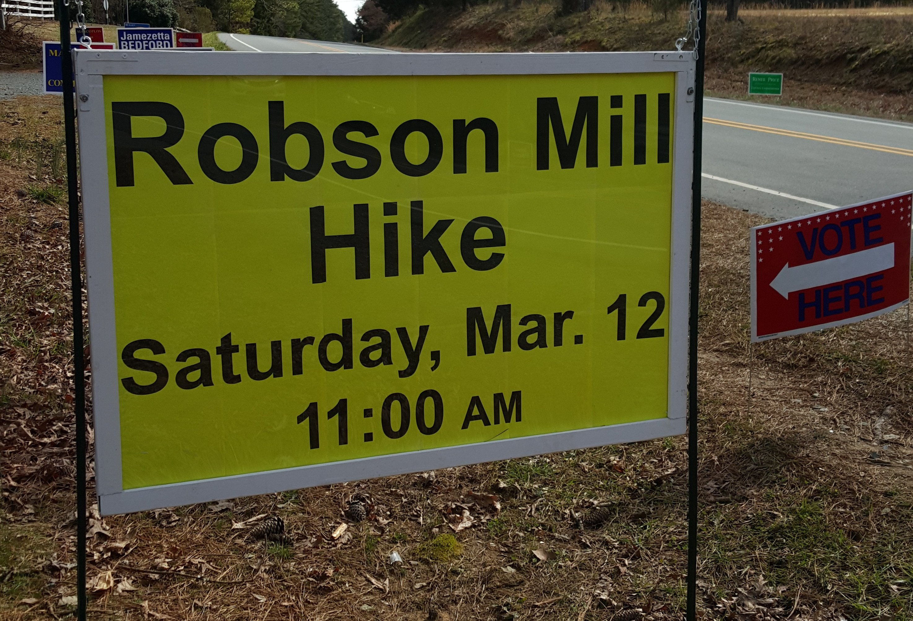 Robson Mill Hike Sign 2016