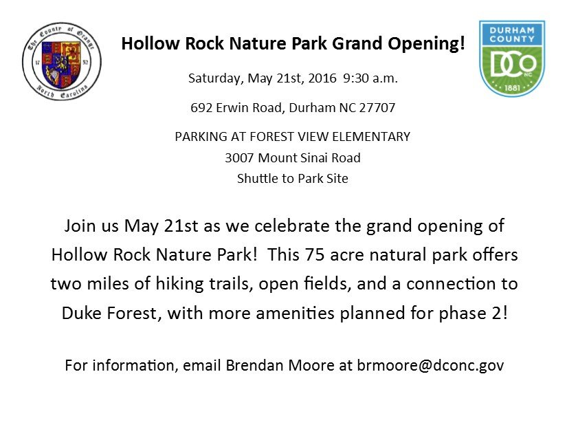 Hollow Rock Nature Park Opening celebration - save the date postcard